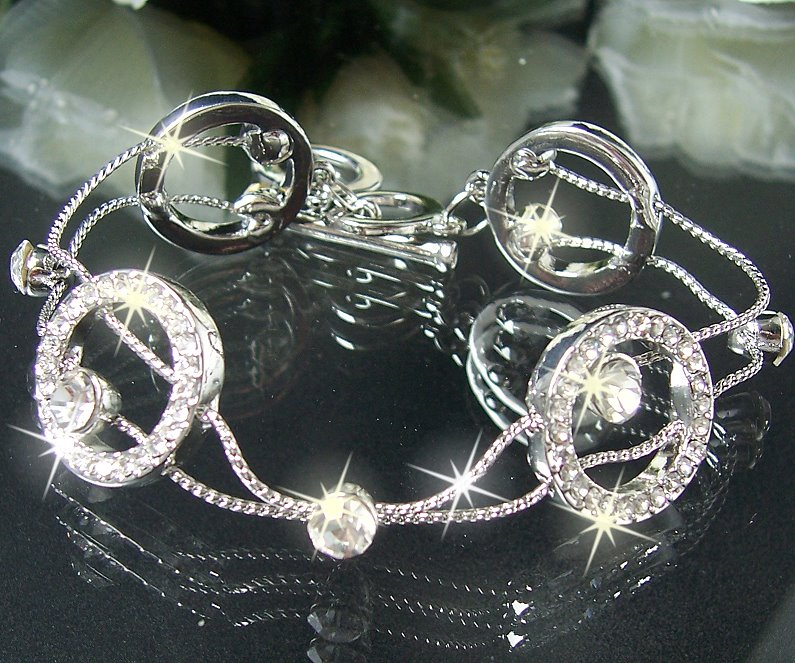 A1713* LUXUS ARMBAND Silber Strass weiss SCHMUCK NEU