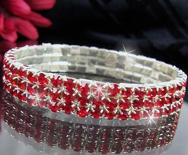 Armband Strass Rot