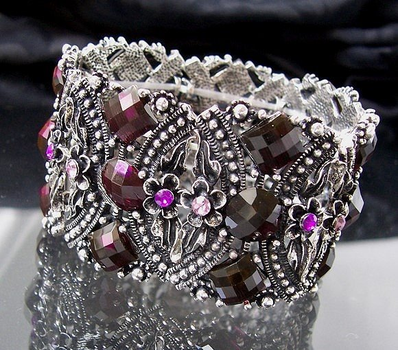 A2645 Armband Retro fuchsia Blumen Mode Schmuck