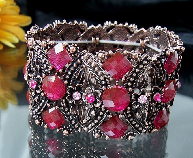 A2646 Armband Retro Himbeer Blumen Mode Schmuck