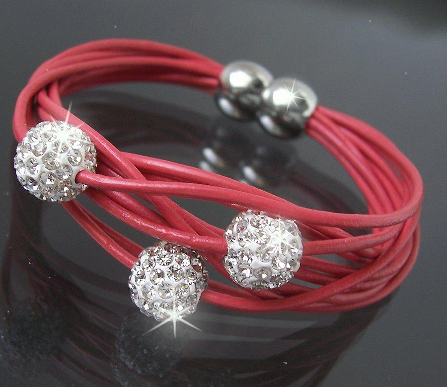VA2-Armband-Shamballa-echt-Leder-Edelstahl-Silber-Strass-Lederarmband-Mode-Neu
