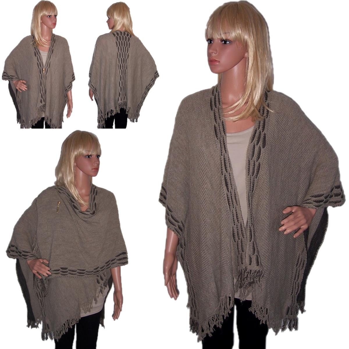 cv1 poncho berwurf cape umhang damen strickjacke cardigan tunika stola wolle ebay. Black Bedroom Furniture Sets. Home Design Ideas