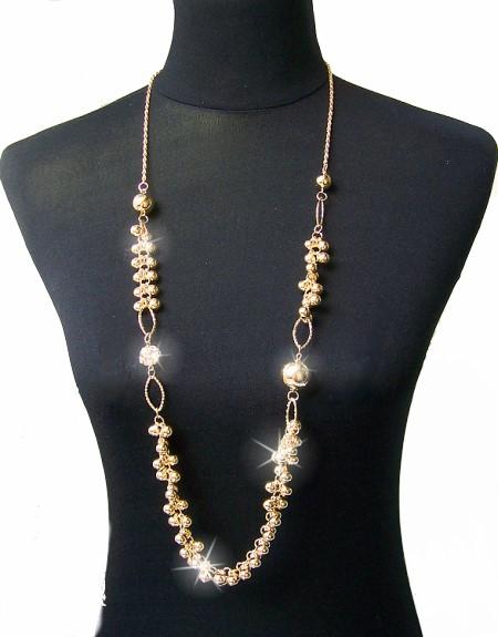 lange kette gold damen halskette perlen schmuck strass goldkette neu k1068 ebay. Black Bedroom Furniture Sets. Home Design Ideas