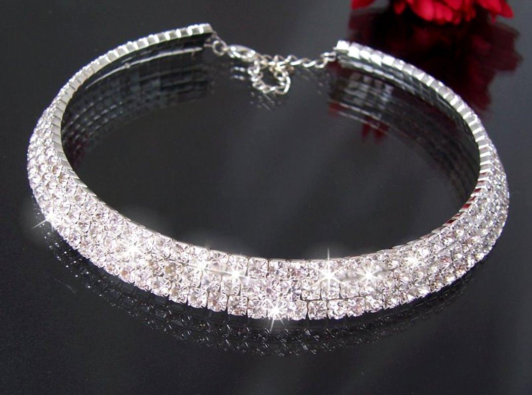 Collier Choker Ohrringe Armband Strass Schmuck Halskette Braut Hochzeit Neu VS5=