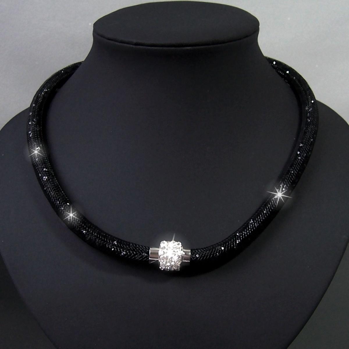 K2317# Collier Kristalle in Nylonnetzschlauch Shamballa Star schwarz