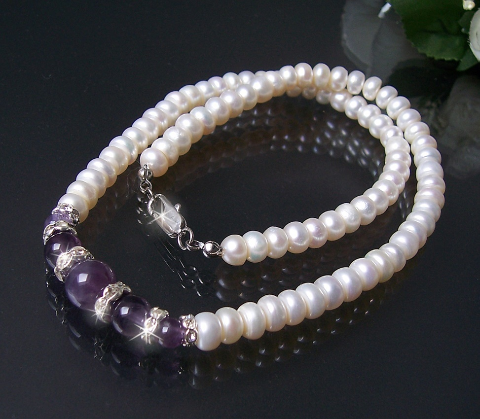K847# Zuchtperlen weiss Perlenkette Kette Amethyst NEU