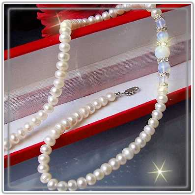 K848# Zuchtperlen Perlenkette weiss Kette Mondstein NEU