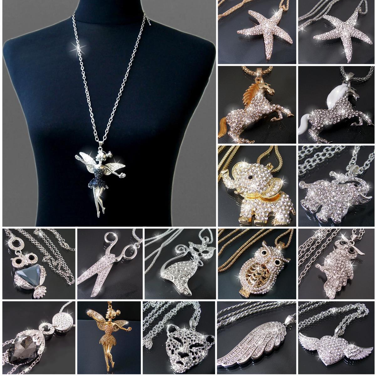 Modeschmuck kette silber  Lange Kette Halskette Flügel Engelsflügel Eule Strass Silber Gold ...
