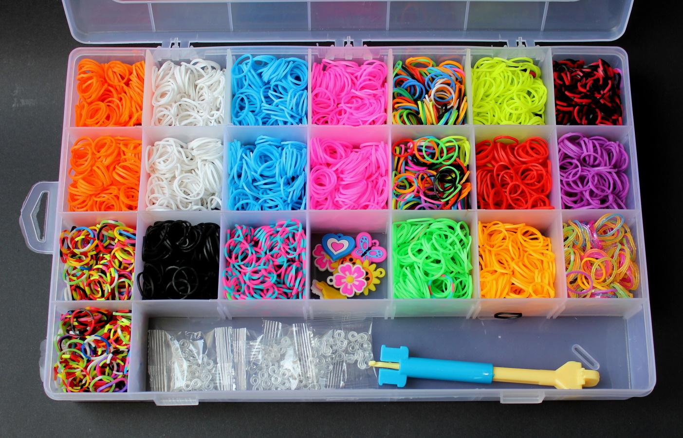 loom bands gummib nder kinder glow armband kinderschmuck starterset basteln vl2. Black Bedroom Furniture Sets. Home Design Ideas