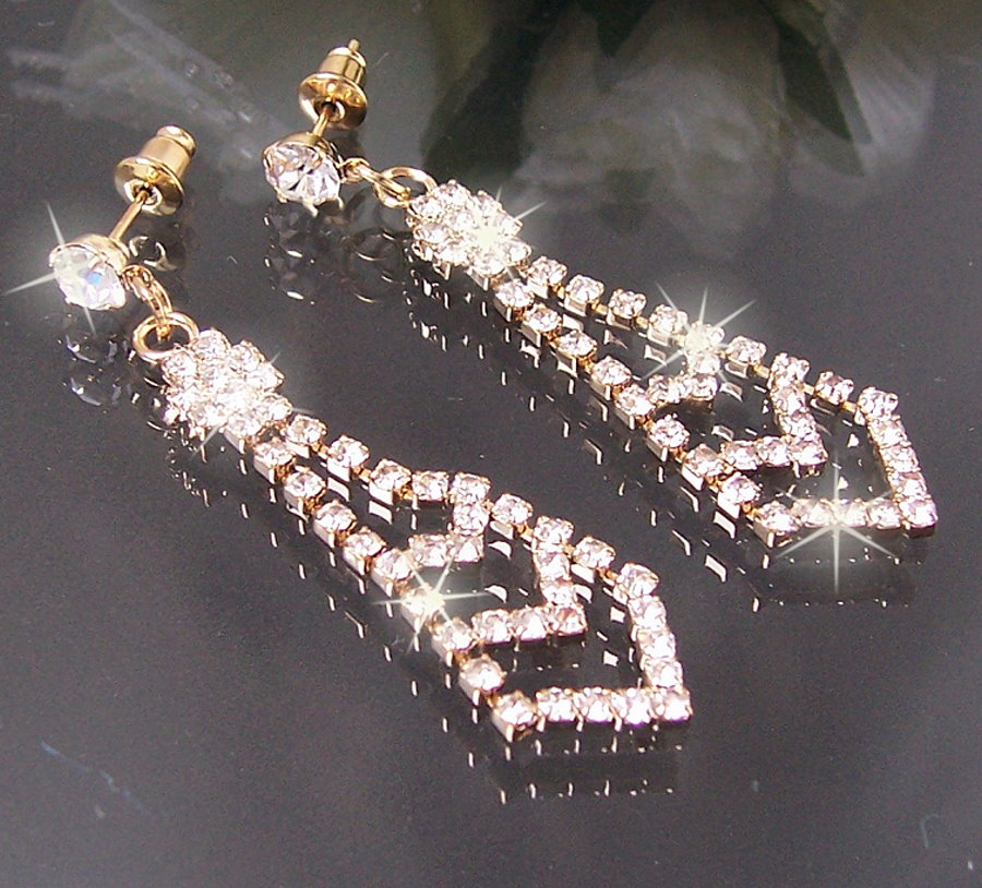 O1532#  OHRRINGE Krawatte GOLD PL STRASS SCHMUCK NEU