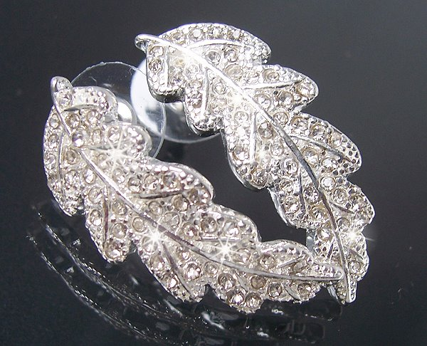 O1361 Ohrringe Blatt Silber Strass Modeschmuck Ohrstecker NEU