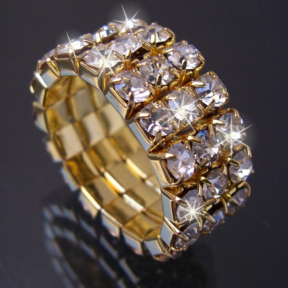 Luxus schmuck   Strassring Ring Ringe dehnbar Strass Modeschmuck Unigröße Damen ...