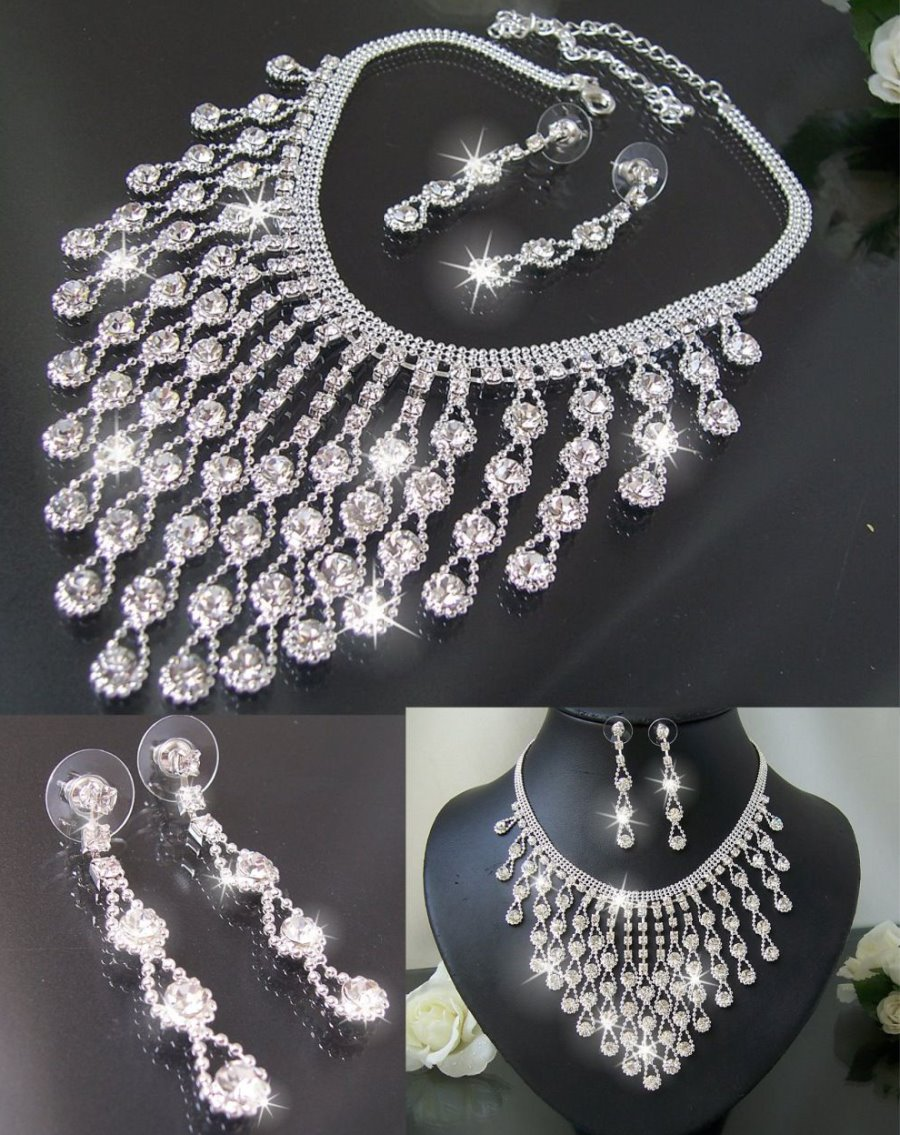 Schmuckset Collier Kette Ohrringe Armband Strass Silber Braut Schmuck Neu VS2#