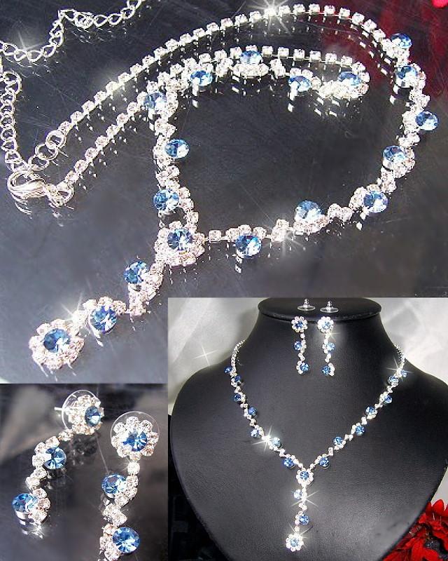 Modeschmuck kette silber  Schmuckset Collier Kette Ohrringe Armband Strass Silber Braut ...