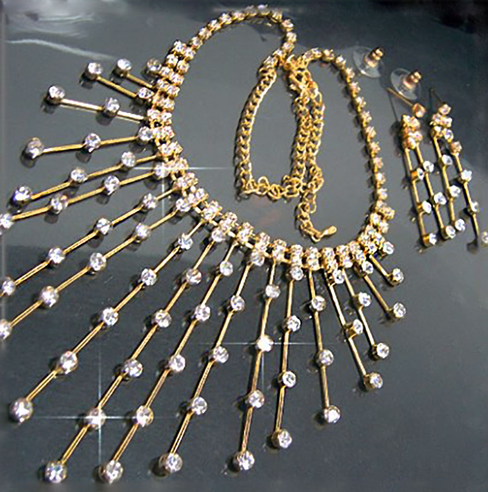 S1267*  SCHMUCK-SET COLLIER-OHRRINGE STRASS GOLD PL.