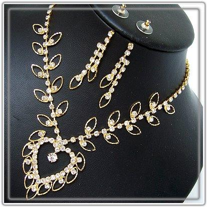 S1275#  SCHMUCK-SET COLLIER-OHRRINGE STRASS GOLD PL NEU