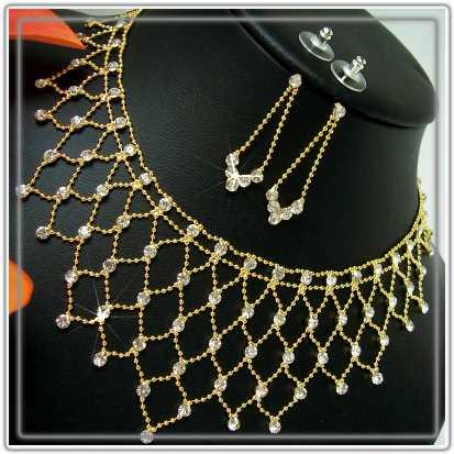 S1408*  SCHMUCK-SET COLLIER-OHRRINGE STRASS GOLD PL NEU