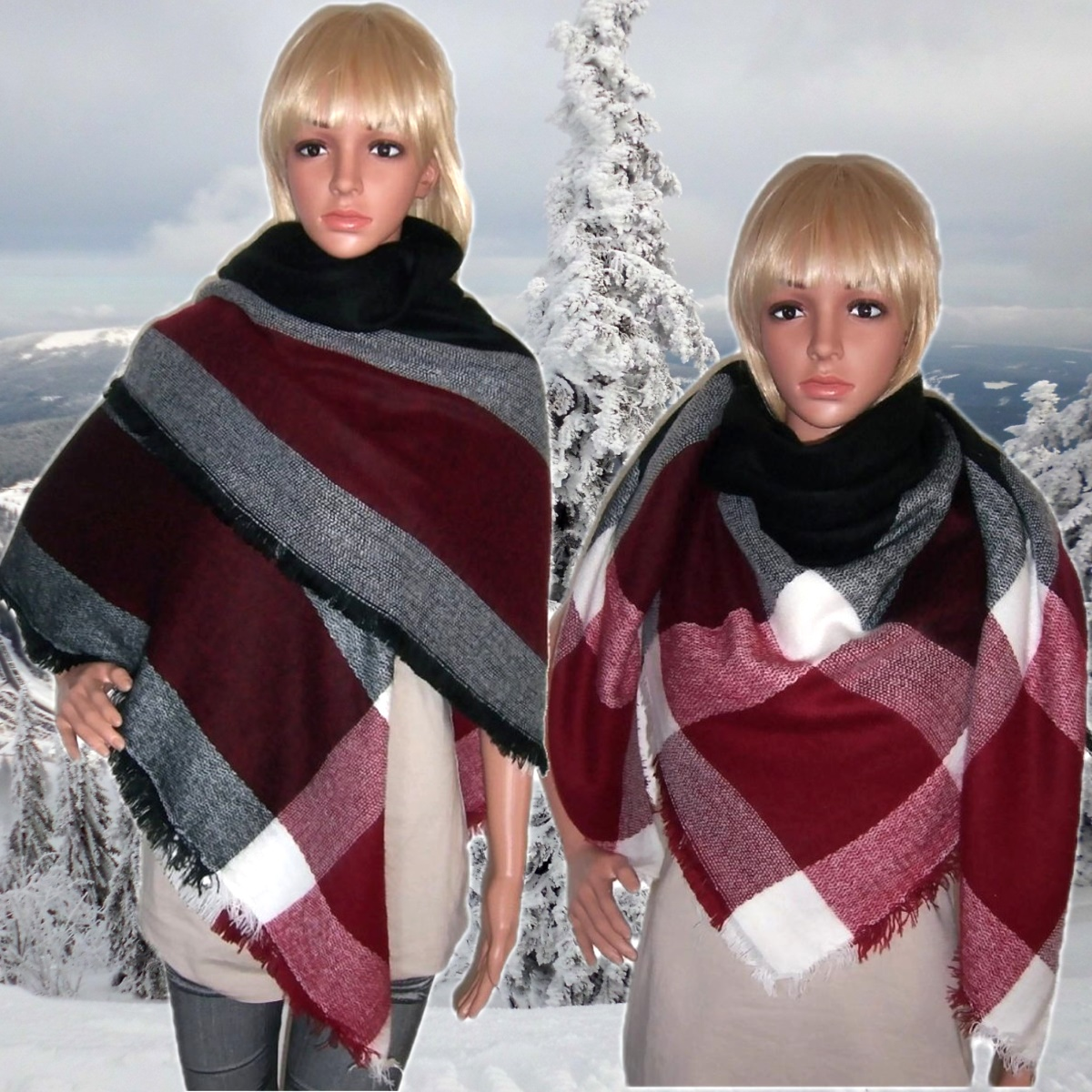 xxl schal tuch kariert winterschal tartan poncho umhang viereck damen stola tv25 ebay. Black Bedroom Furniture Sets. Home Design Ideas