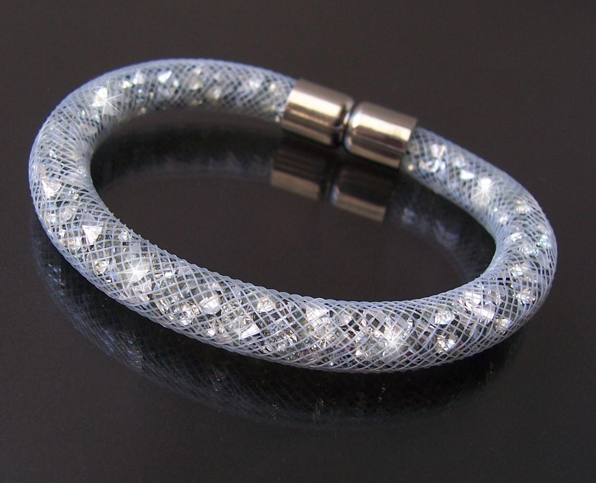 A1137# Armband 20cm Straßkristalle silber Netzschlauch Magnetverschluß