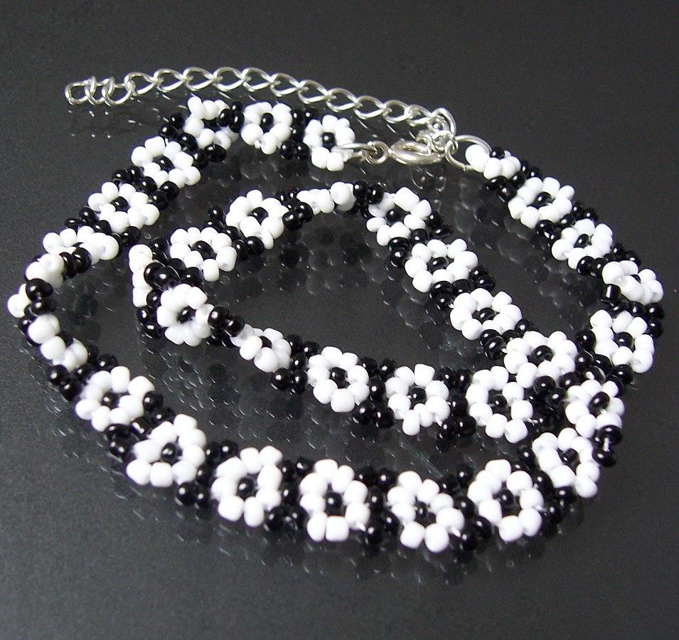 Armkette Halskette Kette Schwarz-weiss Perlen SCHMUCK A1149*