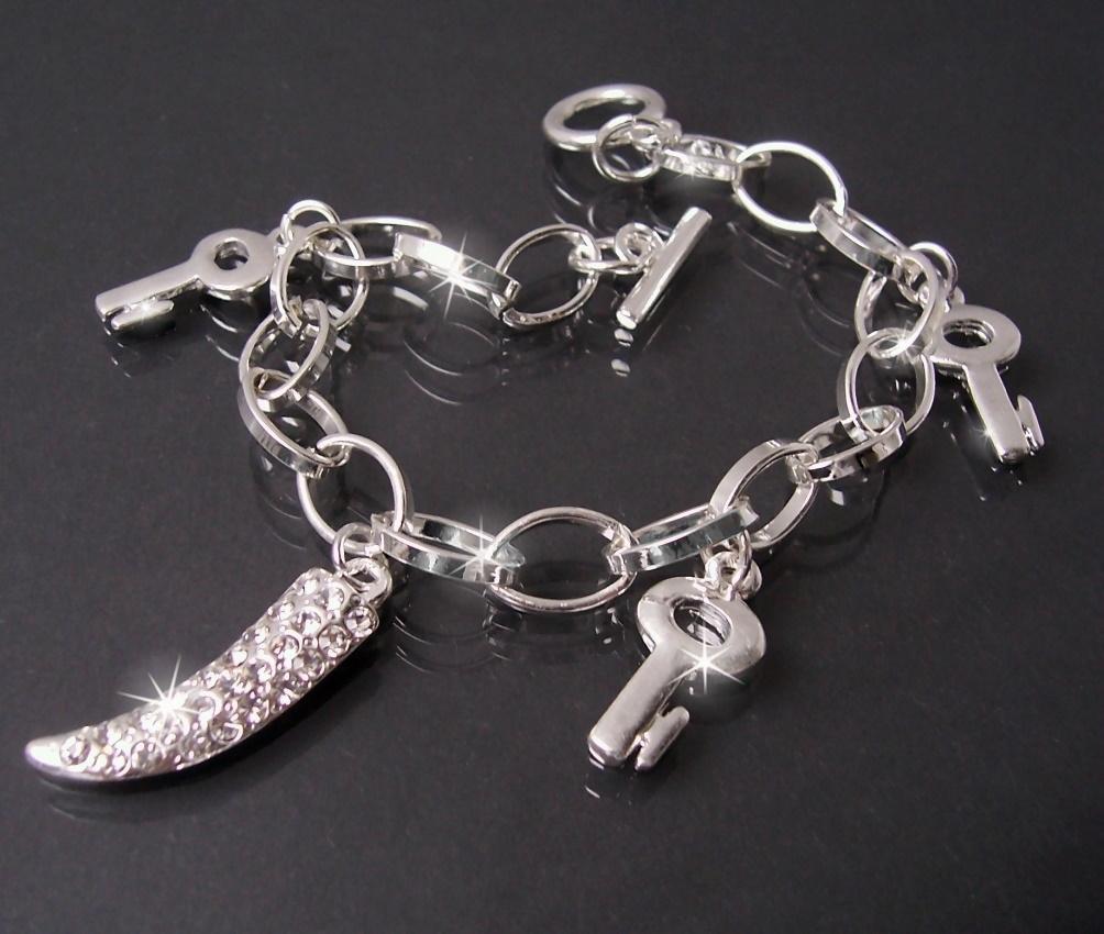 Armband Silber plattiert Bettelarmband Schlüssel Reißzahn A1308