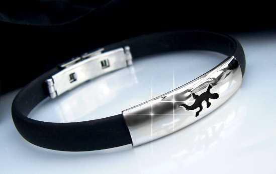 A1736 Armband Edelstahl Kautschuk Eidechse  A158*