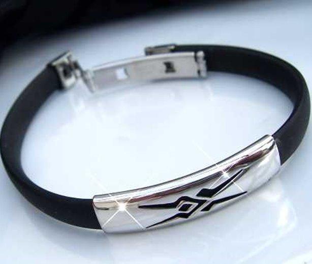 A1367 Armband Edelstahlarmband Kautschuk schwarz A159#