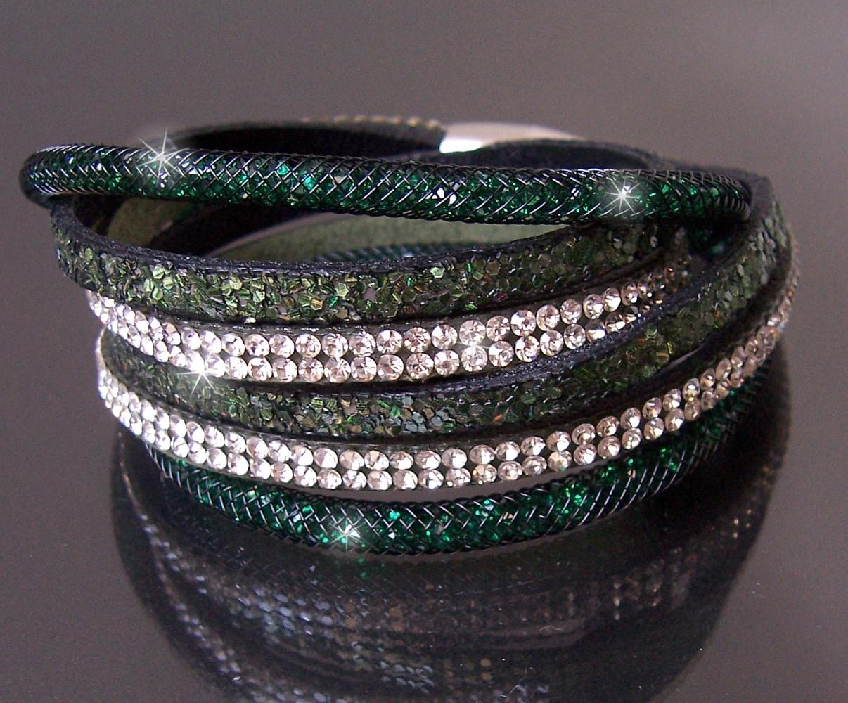 Armband Wickelarmband Netzschlauch Leder Glitzer Strass grün A2054