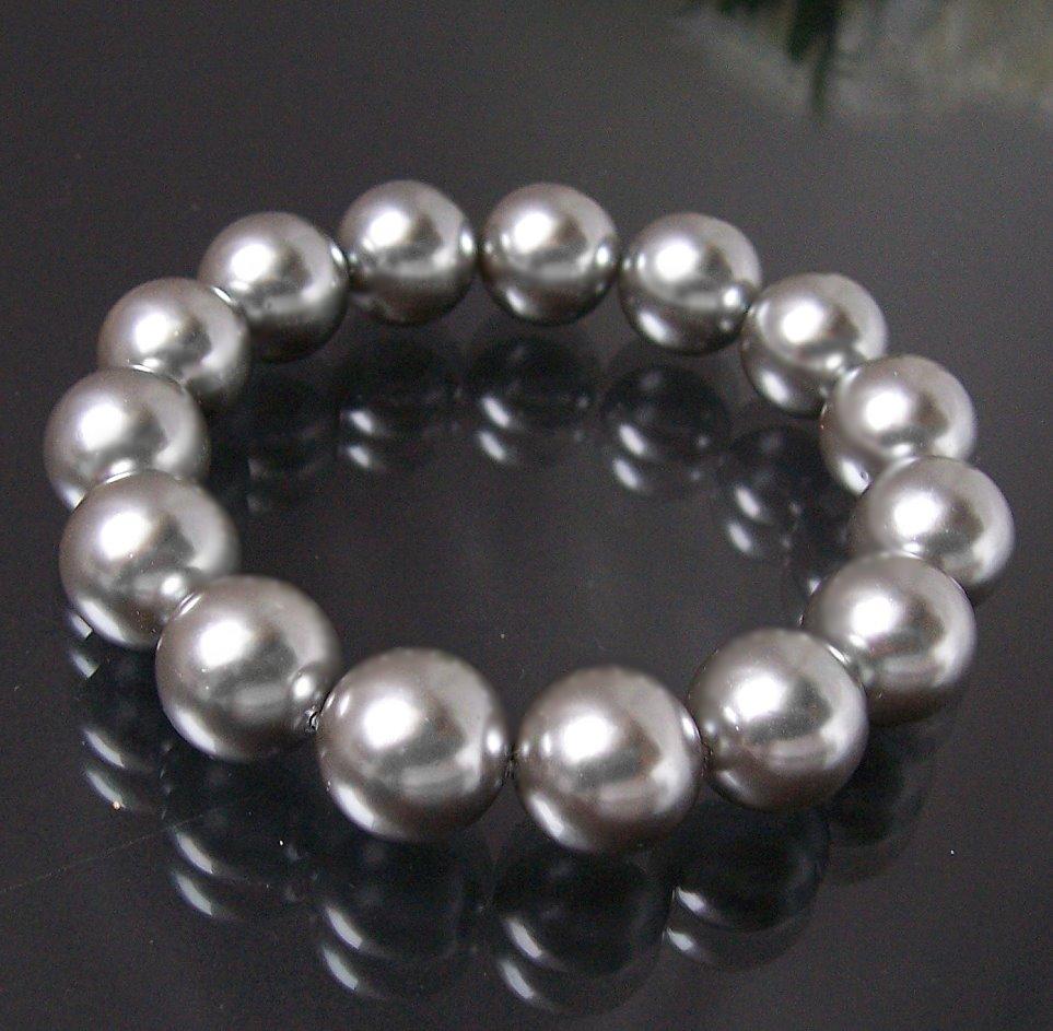 A254# Armband Muschelkern Perlen Silbergrau Perlenarmband