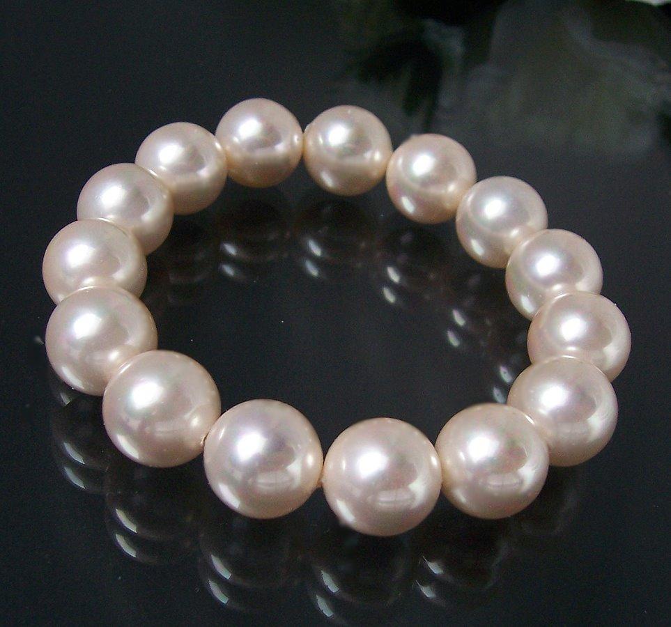 Armband Muschelkern Perlen Champagner Perlenarmband A255