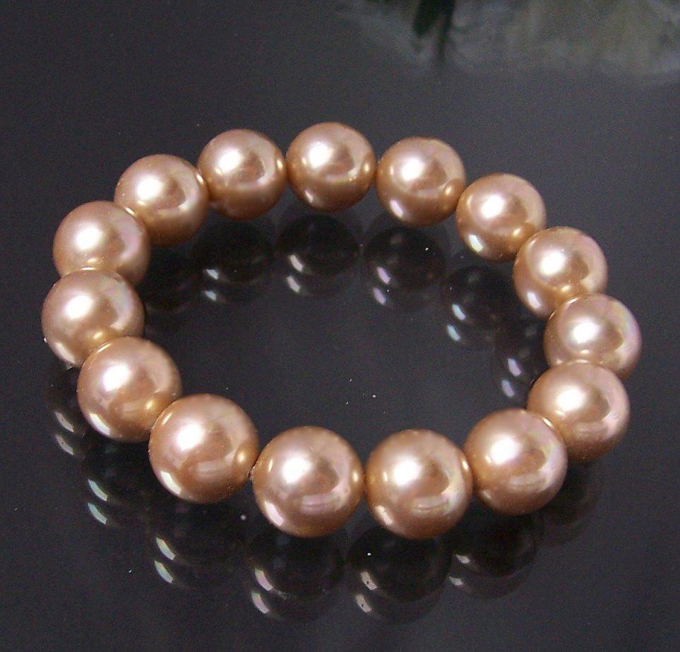 Armband Muschelkern Perlen Gold Perlenarmband A256