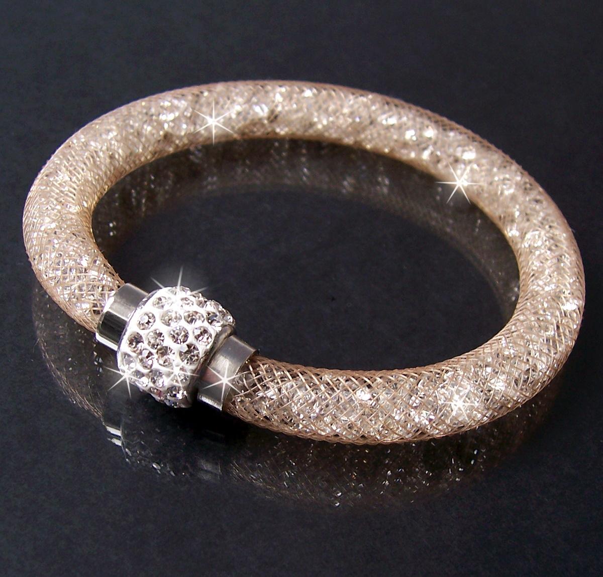 A351# Armband Kristalle in Nylonnetzschlauch Shamballa Star powder neu