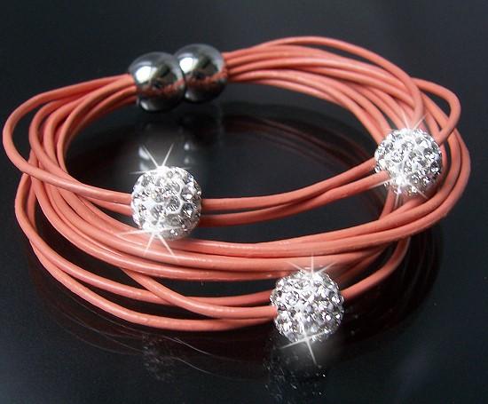 A375* Armband Shamballa Leder Lachsfarben Edelstahl Silber Strass Neu