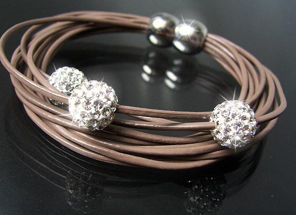 A376* Armband Shamballa Leder Nougat Edelstahl Silber Strass Neu