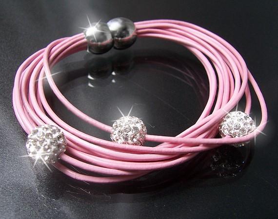 A377* Armband Shamballa Leder rosa Edelstahl Silber Strass Neu