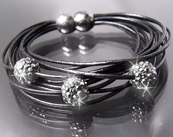 A378* Armband Shamballa Leder schwarz Edelstahl Silber Strass Neu