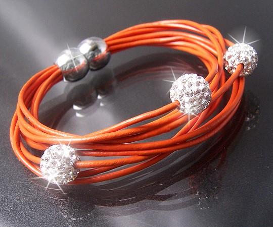 A379* Armband Shamballa Leder orange Edelstahl Silber Strass Neu