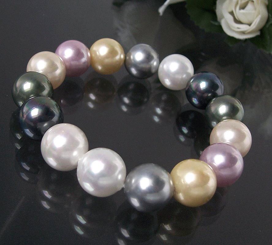 Armband Muschelkern Perlen Multicolor Perlenarmband A437