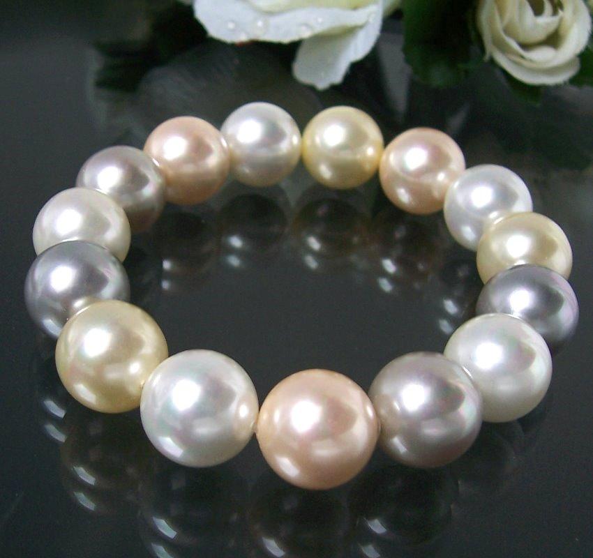 Armband Muschelkern Perlen Multicolor Perlenarmband A440