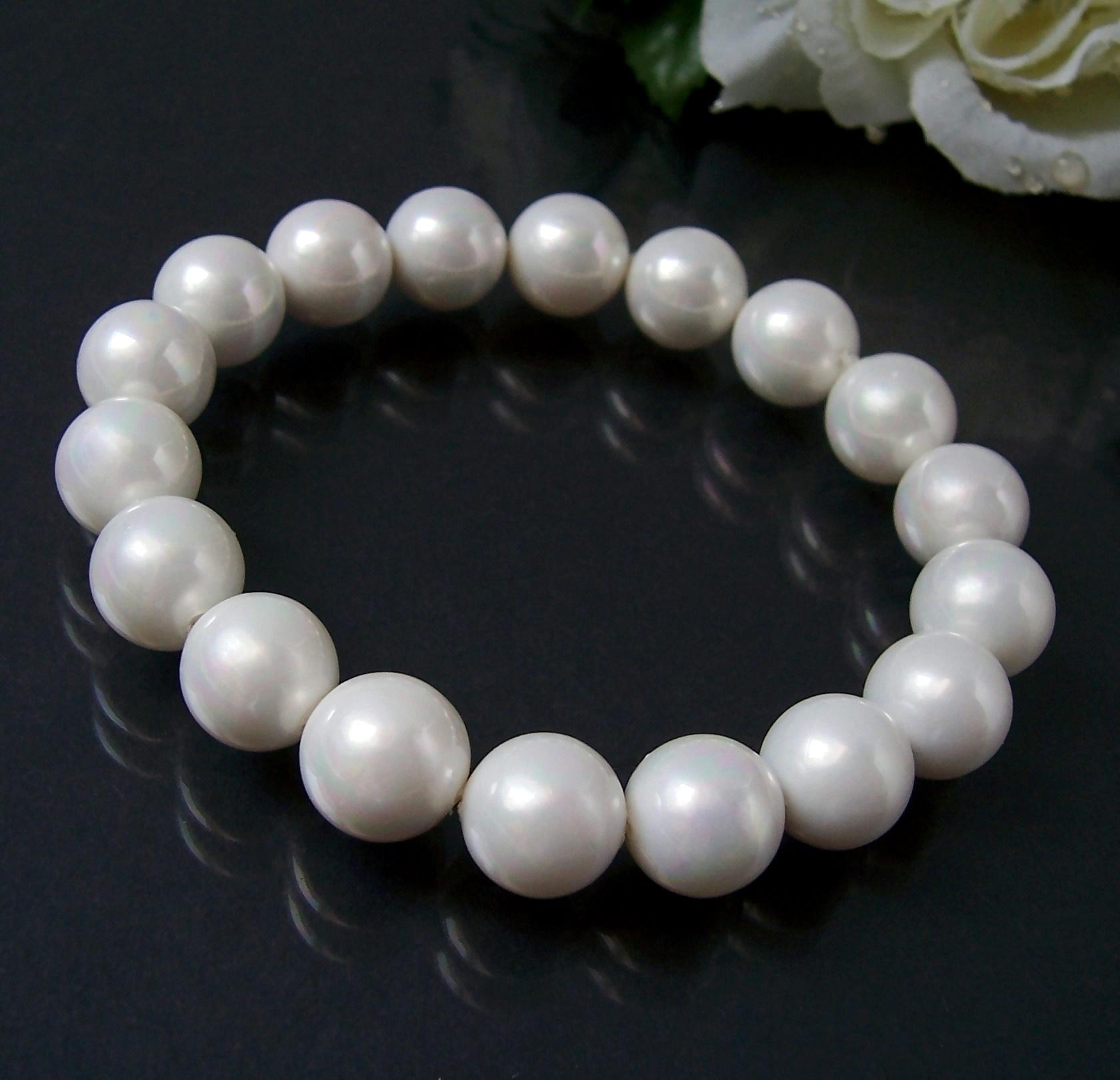 Armband Muschelkern Perlen 10mm Creamweiß Perlenarmband A481