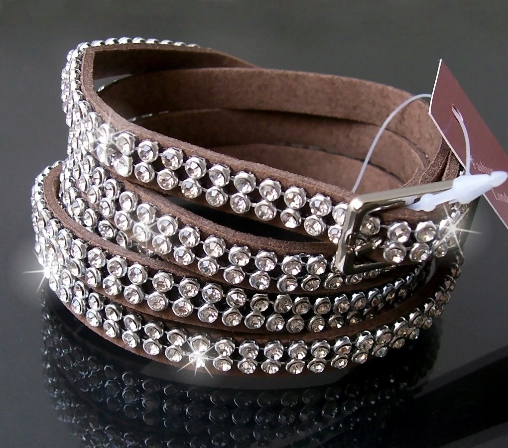 Gürtel Strassgürtel Armband Leder-Look 107cm Stiefelband taupe A5081A