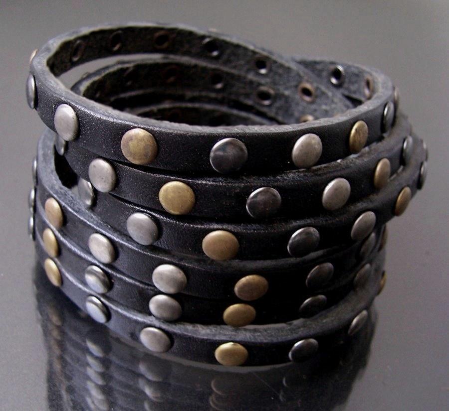 A5087A* echt Leder-Wickel-Armband Nieten 6-reihig black neu