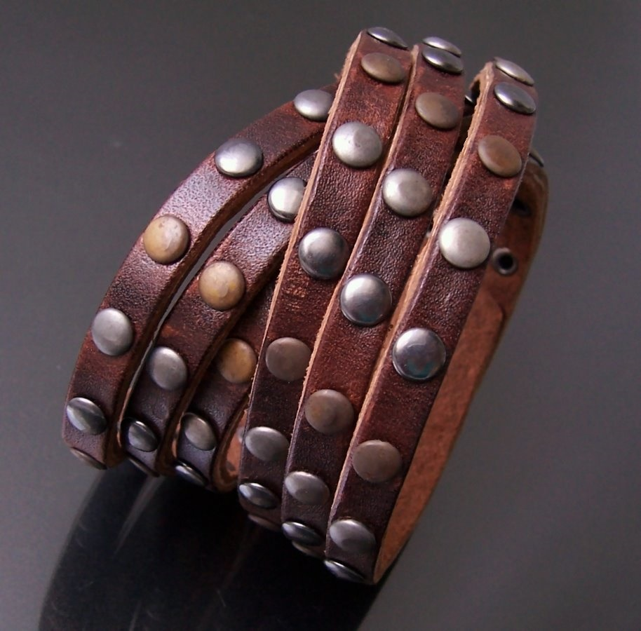 A5087B* echt Leder-Wickel-Armband Nieten 6-Reihig dark brown