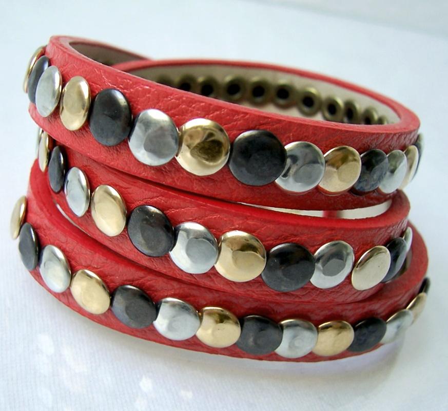 A5099c* 3fach Wickel-Armband Leder-Look Nietenarmband 60cm korallenrot