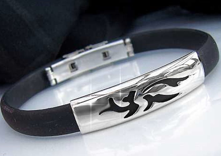 A1735 Kautschukarmband Edelstahl Armband Schwarz A50*