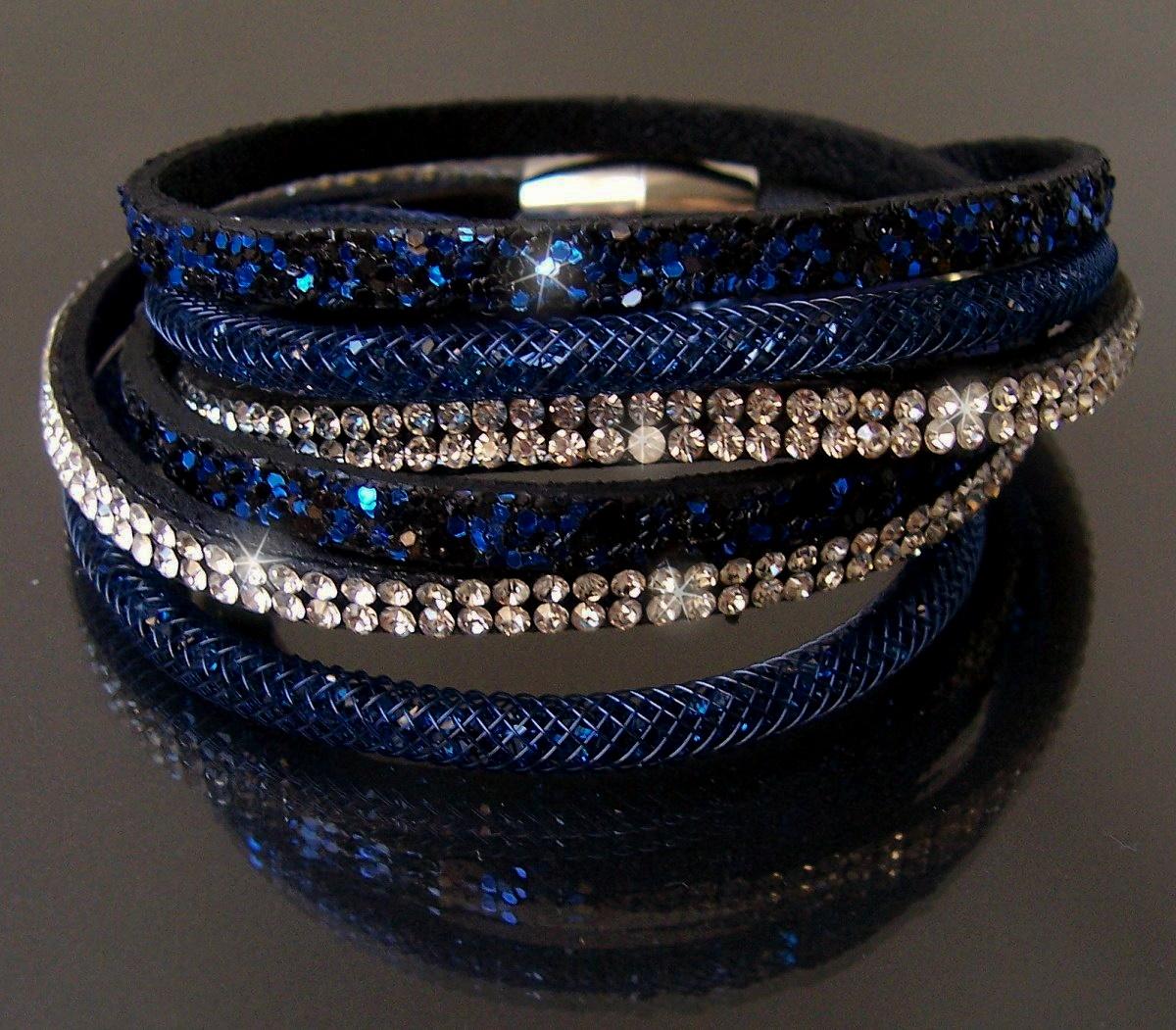 A6033B* 2-fach Wickelarmband Netzschlauch Leder Glitzer Strass blau