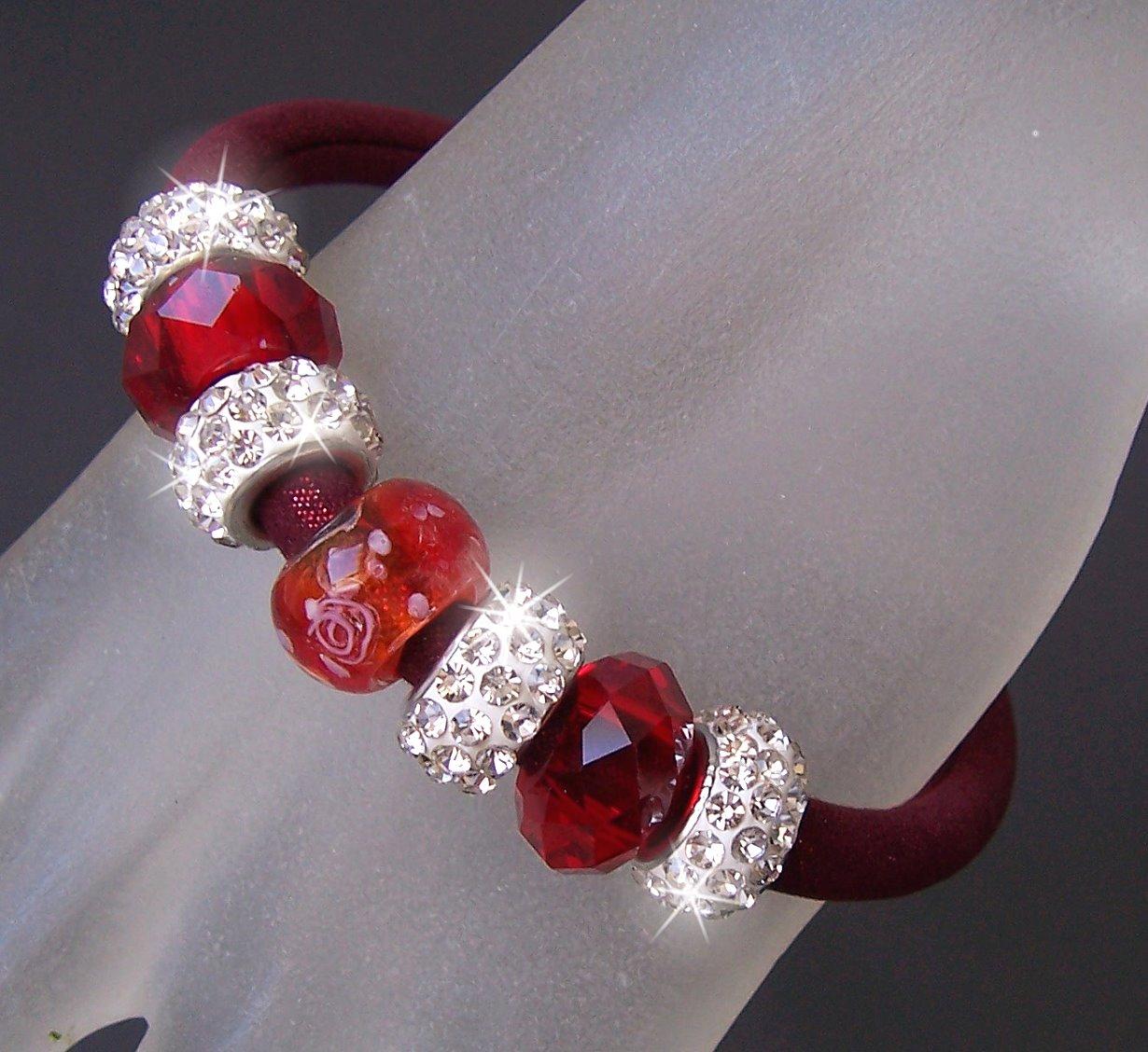 A715# Armband Satin Glitzerstoff dunkelrot Shamballa Perlen neu