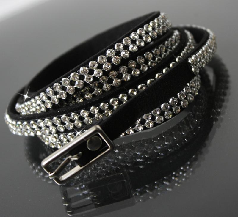 Gürtel Strassgürtel Armband Leder-Look 107cm Stiefelband schwarz A767