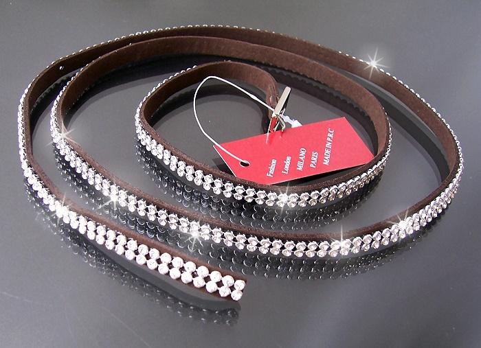Gürtel Strassgürtel Armband Leder-Look 107cm Stiefelband braun A782