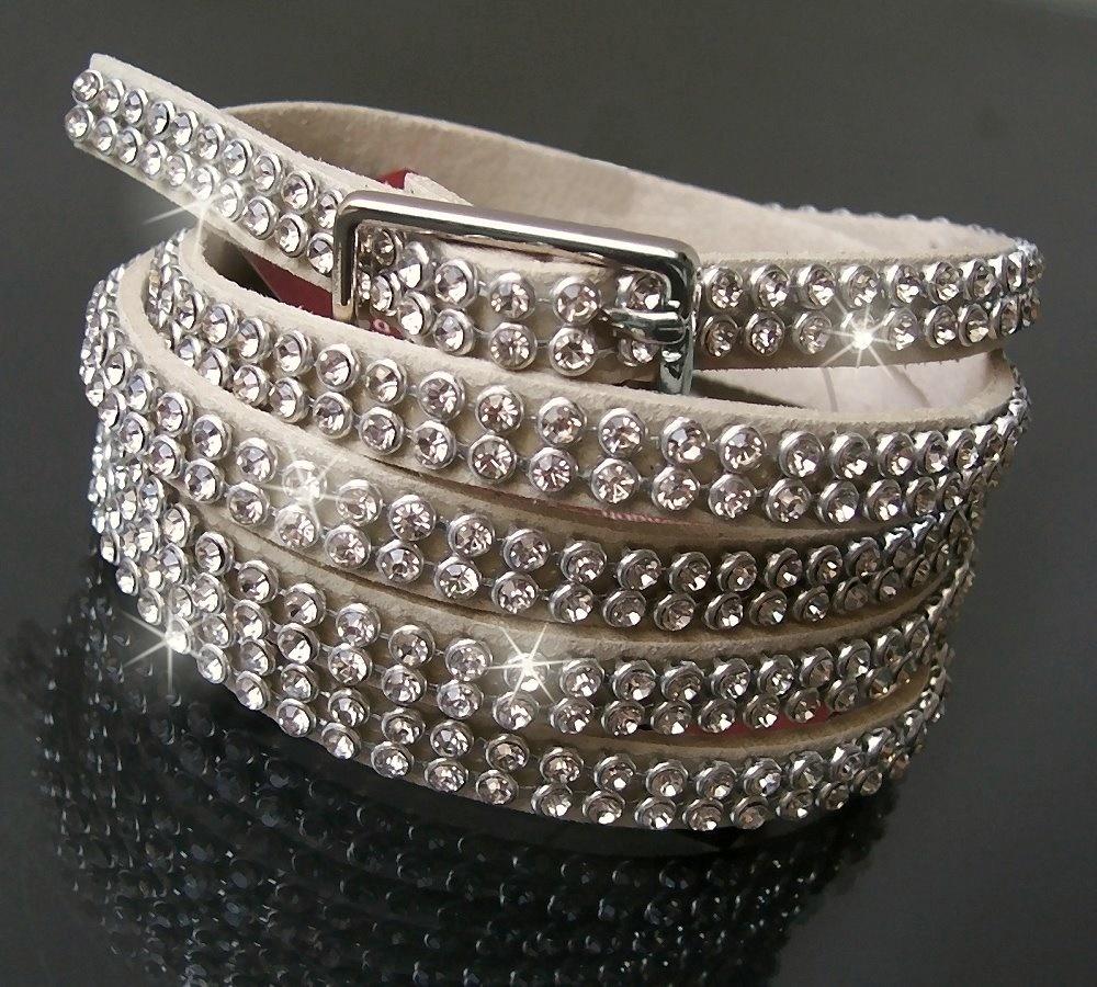 ef7fb816a471c9 Gürtel Strassgürtel Armband Leder-Look 107cm Stiefelband sand A903
